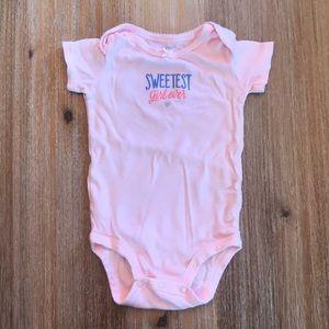 Carter's light pink baby girl onesie, 6 mo